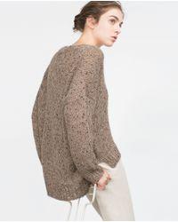 Zara | Brown Sequinned Sweater | Lyst