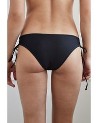 Forever 21 - Black Low Rise Lace-up Bikini Bottoms - Lyst