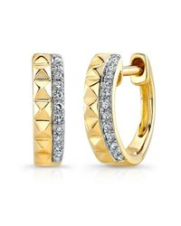 Anne Sisteron | Metallic 14kt Yellow Gold Spike Diamond Huggie Earrings | Lyst