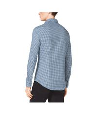 Michael Kors - Blue Slim-fit Check Cotton Shirt for Men - Lyst
