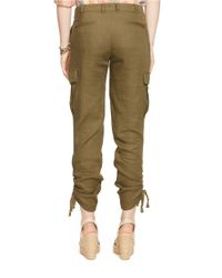 Lauren by Ralph Lauren | Green Linen-blend Cargo Pants | Lyst