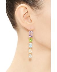 Renee Lewis - Yellow One Of A Kind Five Part Amethyst Peridot Aqua Topaz Kunzite Syn Spinel Citrine Earrings - Lyst