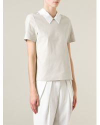 Hache - Natural Contrasted Collar Top - Lyst