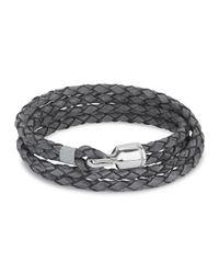 Miansai | Gray Grey Woven Leather Wrap Bracelet for Men | Lyst