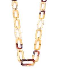 Tory Burch - Metallic Horn-print Link Necklace - Lyst