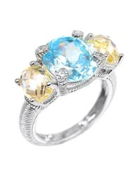Judith Ripka - Canary & Sky Blue Crystal White Sapphire Three-Stone Sterling Silver Ring - Lyst