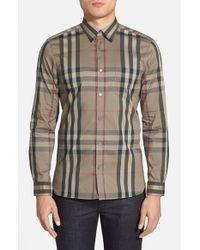 Burberry Brit | Gray 'nelson' Trim Fit Check Sport Shirt for Men | Lyst