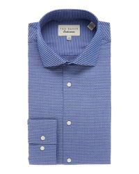 Ted Baker | Blue Prox Textured Geometric Jacquard Formal Shirt for Men | Lyst