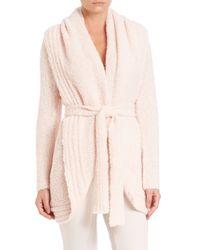 Skin - Pink Bouclé Wrap Cardigan - Lyst