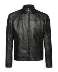 BOSS Green   Black Regular-fit Leather Jacket With A Fine Grain: 'c-jordes' for Men   Lyst