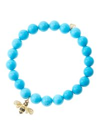 Sydney Evan - Blue 8Mm Turquoise Beaded Bracelet With 14K Gold/Diamond Bee Charm (Made To Order) - Lyst