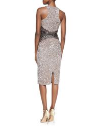 Pamella Roland | Gray Signature Sequin Ombre Sheath Dress | Lyst