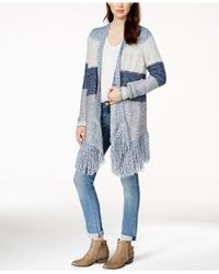 Lucky Brand - Multicolor Striped Fringe Cardigan - Lyst