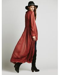 Free People - Womens Fp One Shirred Buttondown Maxi - Lyst