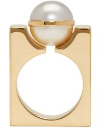 Chloé - Metallic Gold And Pearl Darcy Square Ring - Lyst