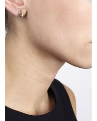 Michael Kors | Metallic Gold Tone Padlock Earrings | Lyst