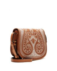 Tory Burch - Brown Embroidered Suede Shoulder Bag - Lyst