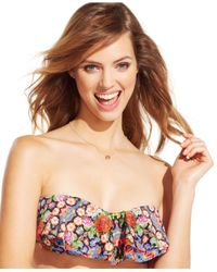 Jessica Simpson - Multicolor Double-Flounce Bandeau Bikini Top - Lyst