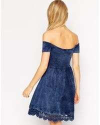 ASOS | Blue Skater Dress With Off Shoulder Detail And Crochet Hem | Lyst