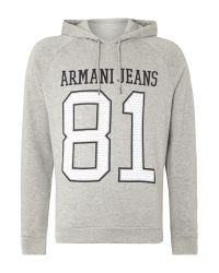Armani Jeans | Gray Long Sleeve Hoodie With 81 Print for Men | Lyst