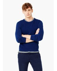 Mango - Blue Textured Cotton Sweater for Men - Lyst