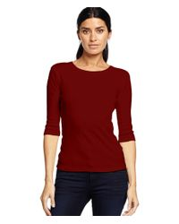 Michael Stars | Red 1x1 Rib 3/4 Sleeve Crew Neck Tee | Lyst