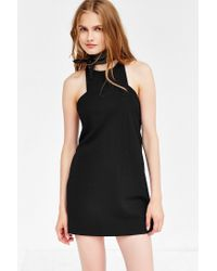 Silence + Noise | Black Marci Carved-neck Ponte Mini Dress | Lyst
