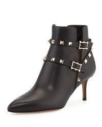 Valentino - Black Rockstud Leather Ankle Bootie - Lyst