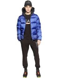 EA7 - Blue Total Zip-Up Nylon Ripstop Down Jacket for Men - Lyst