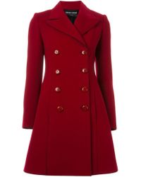 Emporio Armani - Double Breasted Flared Coat - Lyst