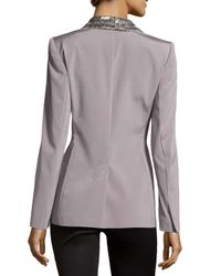 ESCADA - Metallic Embellished Lapel Single-button Jacket - Lyst