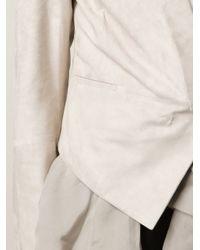 Brunello Cucinelli - Gray Organza Ruffle Suede Blazer - Lyst