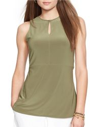 Lauren by Ralph Lauren | Green Keyhole Stretch-jersey Top | Lyst