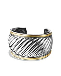 David Yurman | Metallic Sculpted Cable Cuff Bracelet With 18k Gold, 41mm | Lyst