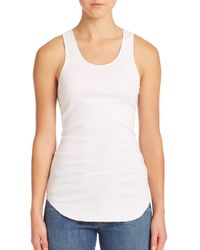 Helmut Lang | White Cotton Ribbed Racerback Tank | Lyst