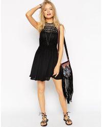 ASOS - Black Halterneck Crochet Mini Dress - Lyst