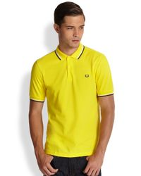 Fred Perry - Yellow Twin Tipped Polo for Men - Lyst