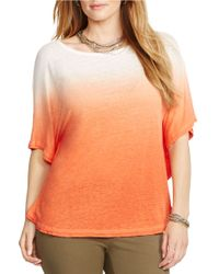 Lauren by Ralph Lauren | Orange Plus Linen Dip-dye Poncho | Lyst