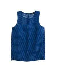 J.Crew - Blue Petite Seamed Shell In Zigzag Eyelet - Lyst