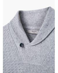 Mango - Gray Shawl Collar Sweater for Men - Lyst