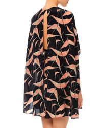 Valentino - Black Jewel-neck Bird-print Capelet Dress - Lyst