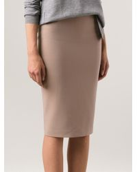 7528ac0d7 Brunello Cucinelli Side Zip Pencil Skirt in Natural - Lyst