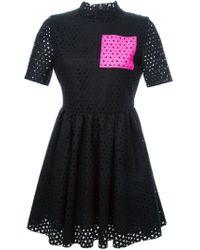 MSGM - Black Laser Cut Pattern Flared Dress - Lyst
