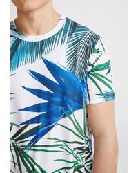 Forever 21 | Blue Tropical Curved-hem Tee | Lyst