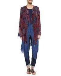 Neiman Marcus - Multicolor Burnout Fringe-trim Kimono - Lyst