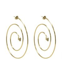 Noir Jewelry | Metallic Cindy Spiral Hoop Pave Pyramid Earrings | Lyst