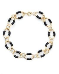 Saks Fifth Avenue - Black Oval Link Neklace - Lyst