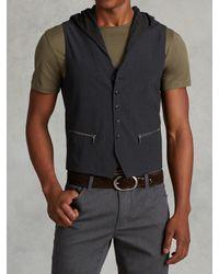 John Varvatos | Blue Wool Hooded Vest for Men | Lyst