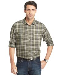 Van Heusen | Green Long-sleeve Heathered Plaid Shirt for Men | Lyst