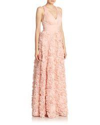 Aidan Mattox - Pink Chiffon Flower Gown - Lyst